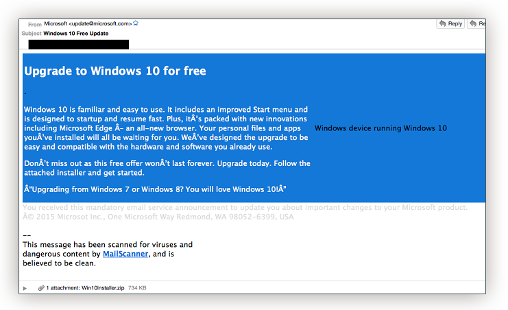 Windows 10 virus mail